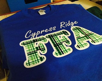Cypress Ridge FFA Shirt with Name and Class Of on back