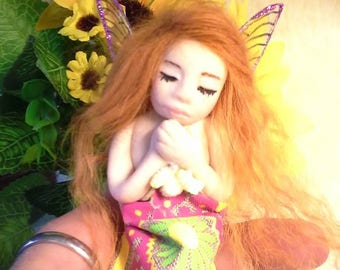 Handcrafted Fairy, Ooak Fairy, Miniature Fairy, Clay Fairy, Sleeping Fairy, Fairy Art