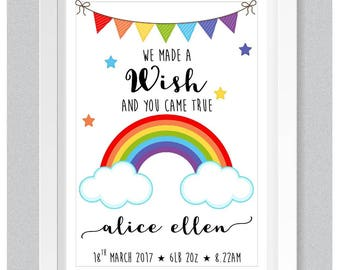 A4 Personalised Gift Print: Baby Name & Birth Details - Bright Rainbow Nursery Decor Baby Gift