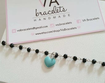 Customized bracelet 925 Silver with gold necklace rosary and blue heart pendant