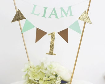 1st Birthday Topper,Cake Toppers,Baby Birthday Party Toppers,Personalized Cake Toppers,Custom Cake Toppers,Gold Mint Theme, Gold, mint