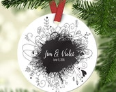 Personalized Wedding Ornament - Custom Anniversary Ornament - Wedding Ornament - Wedding Keepsake - Christmas Ornament - Mr and Mrs Ornament