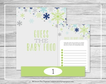 Winter Baby Shower Guess The Baby Food Game - Printable Baby Shower Guess Baby Food Game - Baby It's Cold Outside Baby Shower - SP142