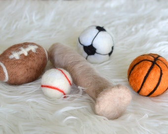 Felted Stuffed Sports Photo Prop; MADE TO ORDER; Newborn Photography Prop; Stuffed; Needle felted; Baseball; Football; Basketball; Soccer