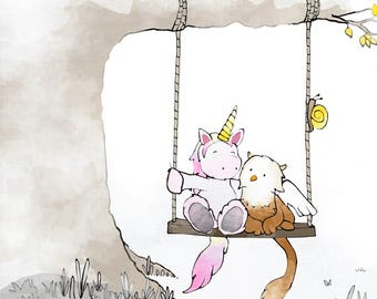 Griffin and Unicorn Art Print - Enchanted Forest, Fantasy Animals on Swing.