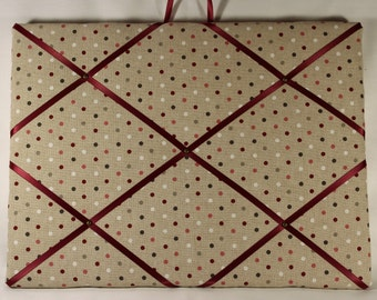 Polka dot memo board, Memo board, Pin board, Fabric memo board, Shabby chic memo board, display board, photo board