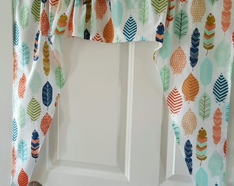 Coral,Mint,Aqua,Navy Feather Swag valance