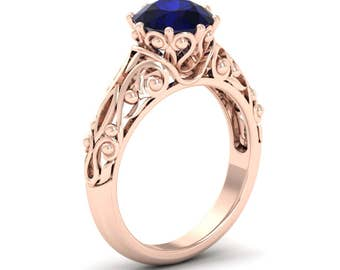 Sapphire Engagement Ring   Blue Sapphire Ring   Antique Sapphire Ring in  14k Rose/White/ Yellow Gold   Vintage Sapphire Ring