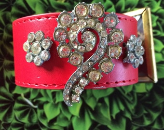 Will you marry me?  Antique Dress Clip/Earrings Red Leather Cuff