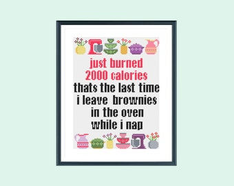 Funny cross stitch pattern, burning calories, instant download