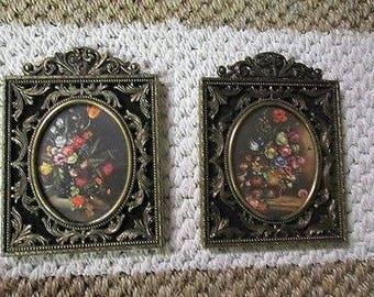 2  Vintage Mini Bronzed Metal Italian Made framed Oval Floral prints