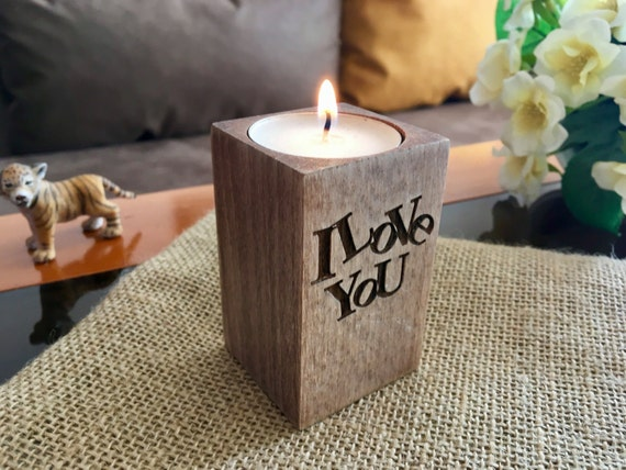 Christmas wood candle holders I love You Personalized engraved tealight candle holder Home decor Table centerpiece Unique wood wedding gift