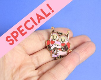SPECIAL EDITION - Pin owl with teacup - hard enamel pin - brooch