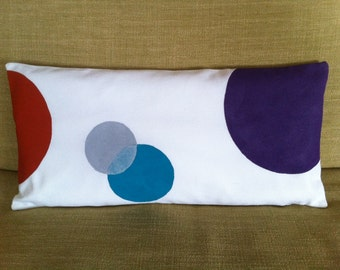 mini petite lumbar pillow cover hand painted purple orange turquoise and gray over white