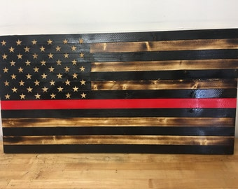 Rustic Wooden American Flag with fire fighter thin red line