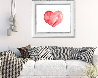 Love print, love art, watercolor heart print, red heart art, love art print, painting red, simple modern decor - N15