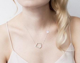 Geometric necklace, minimalist necklace, handmade necklace, silver necklace, pentagon pendant, oxidized silver necklace, pentagon necklace