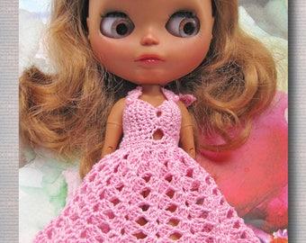 Crocheted Yarn Dress on Blythe Free Shipping Doll