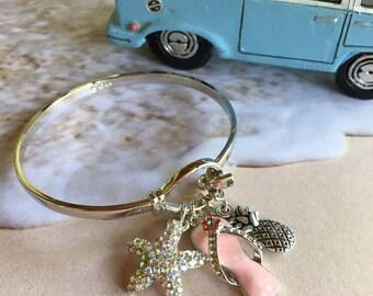 Beachwear ,bangle silverplated rhinestone charm, bracelet, chic bracelet,trendy bracelet,summer jewelry