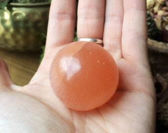 Beautiful Natural Peach Selenite Carved Crystal Sphere