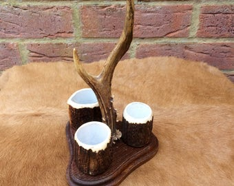 Beautiful Hand Crafted Deer Antler Stationary Holder Taxidermy Ornament