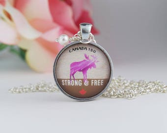 Canadian Moose Necklace | Pink Moose Necklace | Canada Jewelry | Canada Souvenir Jewelry