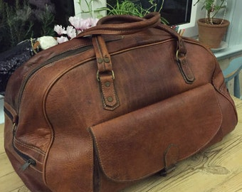 Handmade from vintage leather luggage holdall