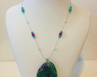 Turquoise and pink agate necklace