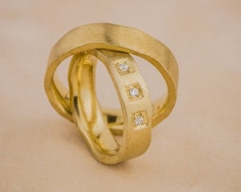 14K Yellow Gold and Natural White Diamonds Wedding Rings, Diamonds Wedding Bands, Gold Wedding Rings, Matching his and hers wedding bands