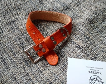 Leather dog collar 'BritTan'