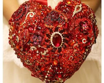 Bouquet heart red Brooche,Wedding red bridal broach boquet,Bouquet Bride red,Bridesmaids Bouquet,Alternative St.Valentine's Day gift  her