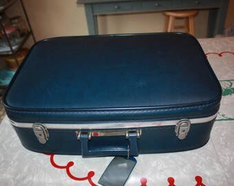 Cool Navy Blue Small Vintage Travel Suitcase / Luggage