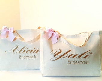 Set ToteBag and Tumbler-Personalized Tumbler-Canvas Tote-Handbag-Bride Purse-Bridal Party-Bridesmaid Tote Bag-Tumbler-Wedding Tote-Bride