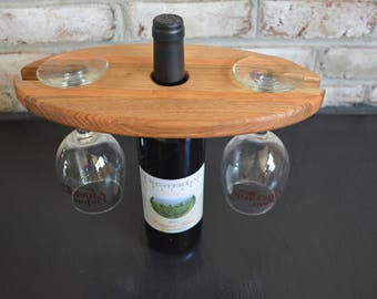 Wine display, wine bottle and glass holder
