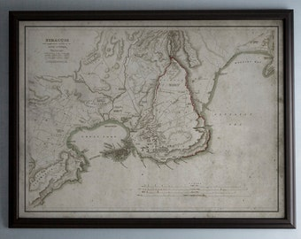 Syracuse Map: Old Map of Syracuse, Italy - Circa 19th C. - Weathered Map