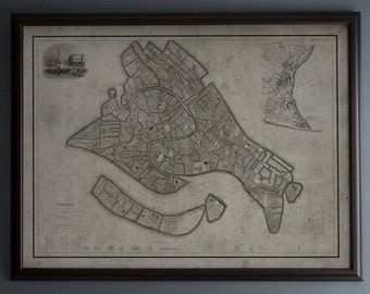 Venice Map : Vintage Map of Venice, Italy - Circa 19th C. - Weathered Map