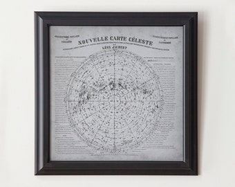 Vintage Star Map - Antique French Star Map - Nouvelle Carte Céleste - Poster Print