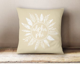 Alpha Phi Feathers Pillow Choose Your Pillow Color