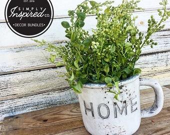 Home Ceramic Planter Mug + Floral Arrangement