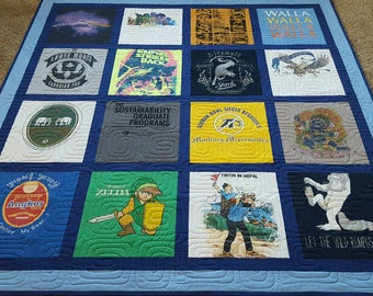Jersey t-shirt quilts made from 9 to 49 tees. Memory T shirt quilts. Custom tshirts quilt. Deposit only!