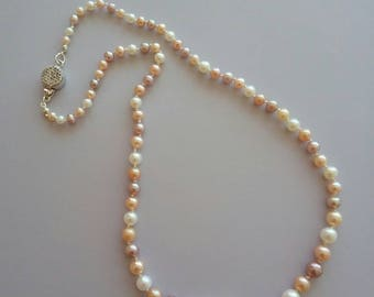 Multi colour freshwater pearl single strand knotted necklace