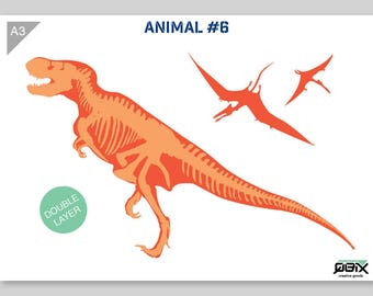 Dinosaur T-Rex Stencil A3 42 x 29,7 cm // 16,5 x 11,7 inch // 2-layers