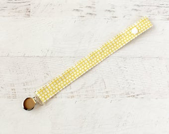 Pacifier Clip- Mustard-Yellow-Soother Clip-Paci Clip- Binky Clip
