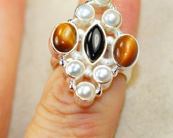 Genuine Tiger Eye with River Pearl   set in Solid  925 Sterling Silver Ring size 7