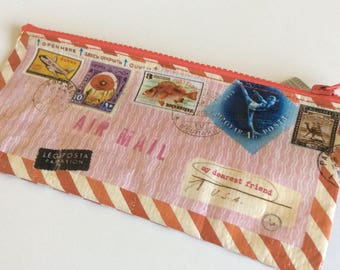 Pink Airmail Pencil Case:  Blue Q, Mixed Media, Art Supplies case, Travel case, Journal pouch