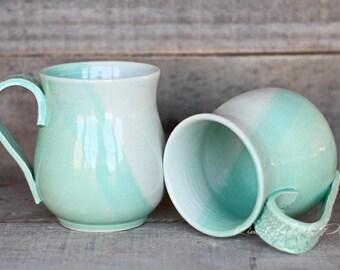 Sea Mist belly Mugs, ceramic coffee mug, tea cup, Latte mug, cappuccino mug, unique coffee mug, ceramic mug, pottery mug, turquoise mug