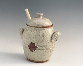 Handmade Honey Pot - Pottery Honey Pot, Ceramic Honey Pot, Covered Honey Pot - Handmade Honey Pot  - Honey Pot - Ready To Ship