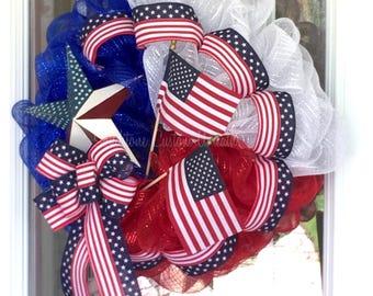 Patriotic  Lone Star Mesh Wreath, Star Wreath, 4th of July Mesh Wreath, July 4th Lone Star Door Decoration, Patriotic Door Decor