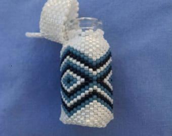 Beaded White, Blue, and Black Sachet Bottle