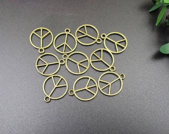 20Pcs 12x14mm Bronze Peace Charms 2 Sided-p1771